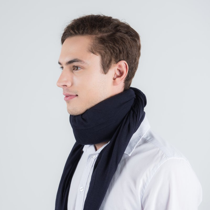 scarf cover neck brace blue cashmere
