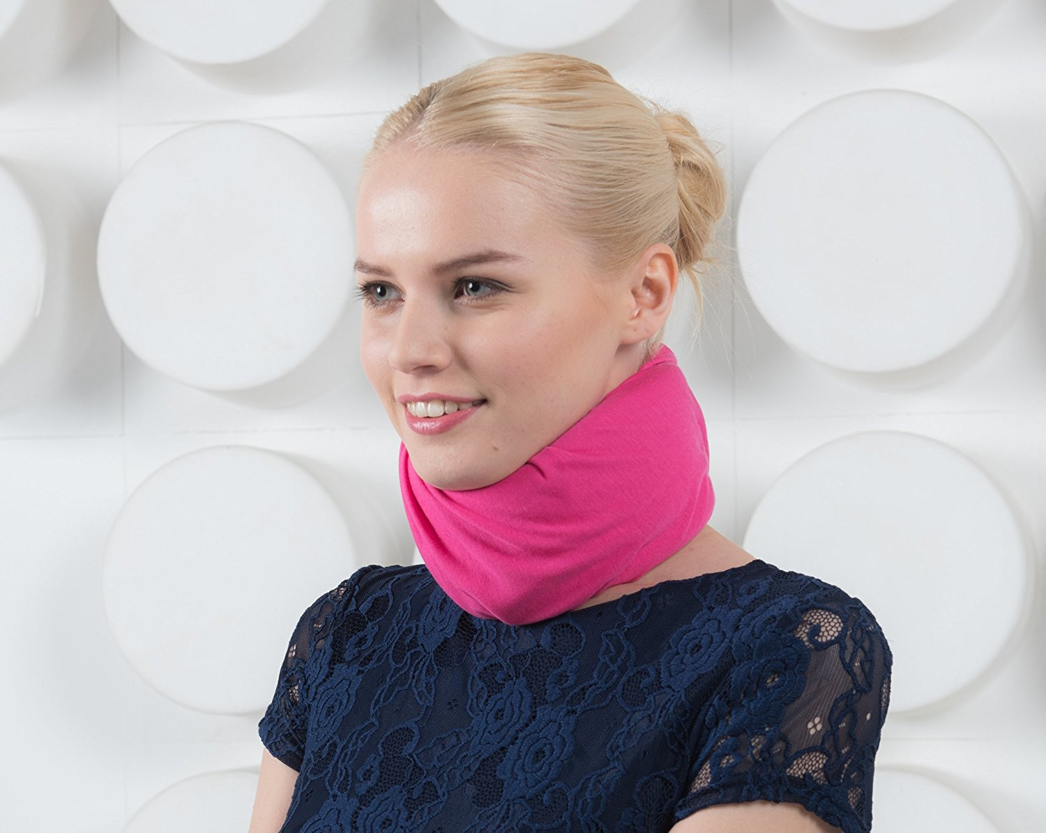 Snood rose/fuchsia pour collier cervical